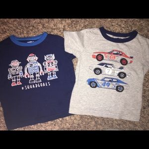 Bundle of 2 boys tees robots and cars